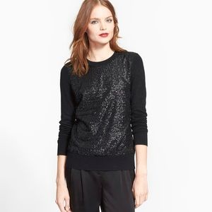Kate Spade Black Sequin Front Tie Back Sweater XS